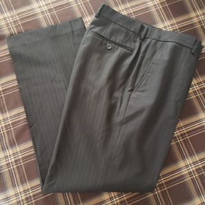 CLAIBORNE MENS BLACK PINSTRIPED DRESS PANTS